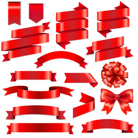 Red Ribbons Big Set With Gradient Mesh, Illustration
