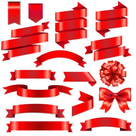 Rouge Rubans Big Set Avec un filet de dégradé, Illustration Vecteurs
