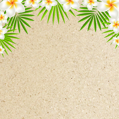 sand background: Sand Background With Frangipani, With Gradient Mesh, Illustration