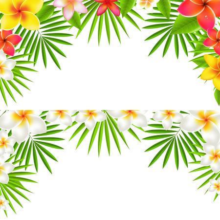 hawaiana: Tropical Flowers Border Set, con malla de degradado, ilustración