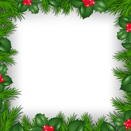 holly leaf: Christmas Border From Holly Berry With Gradient Mesh, Vector Illustration