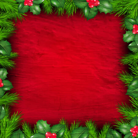 Christmas Frame From Holly Berry With Gradient Mesh, Vector Illustration 向量圖像