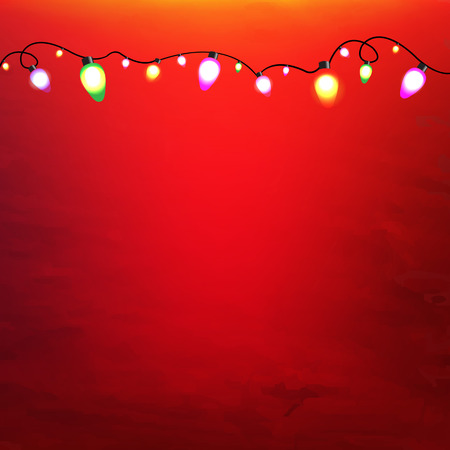 red wallpaper: Christmas Garland With Gradient Mesh, Vector Illustration