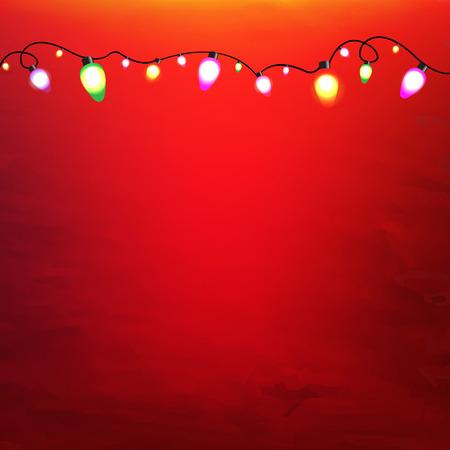 fondo rojo: Garland de Navidad con malla de degradado, ilustraci�n vectorial