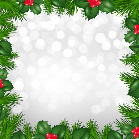 holly berry: Christmas Silver Border From Holly Berry With Gradient Mesh, Vector Illustration