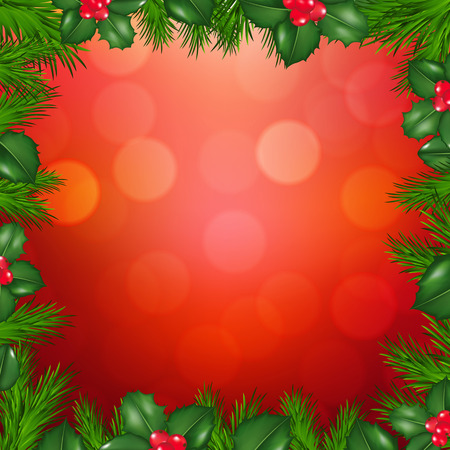 ilex: Xmas Fir Tree Border With Holly Berry With Gradient Mesh, Vector Illustration
