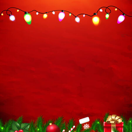 Xmas Red Card With Gradient Mesh, Vector Illustration Vector