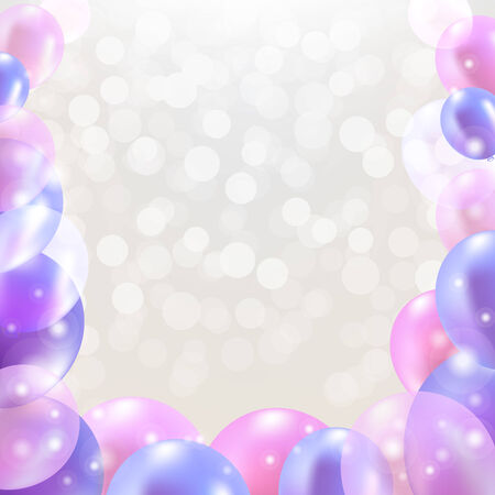 Happy Birthday Card With Pastel Balloons With Gradient Mesh, Vector Illustration Vector