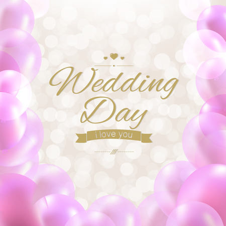 wedding day: Wedding Day With Gradient Mesh, Vector Illustration Illustration