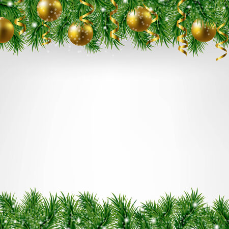 colden: Xmas Fir Tree Border With Colden Balls With Gradient Mesh, Vector Illustration