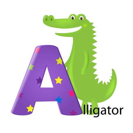Green Alligator With Letter A With Gradient Mesh, Vector Illustration