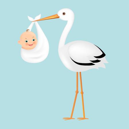 Poster Cigüeña con el bebé con malla de degradado, ilustración vectorial