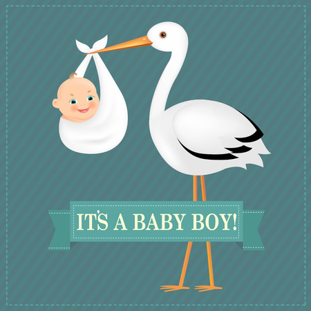 vintage baby: Poster Stork With Baby Boy With Gradient Mesh, Vector Illustration