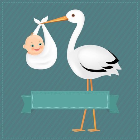 Poster Stork With Baby Boy With Gradient Mesh, Vector Illustration Vector