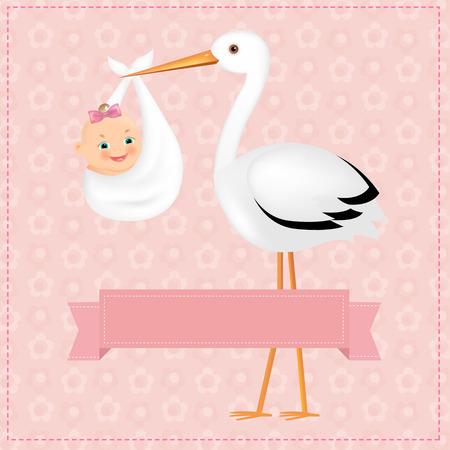 그라디언트 메쉬, 벡터 일러스트 레이 션 아기 소녀와 포스터 황새