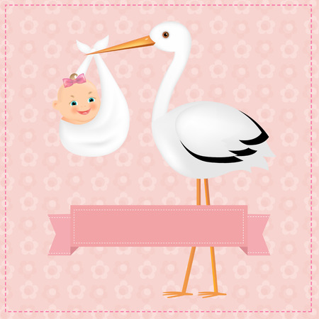 birth announcement: Poster Stork With Baby Girl With Gradient Mesh, Vector Illustration