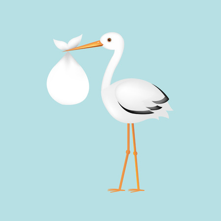 cigogne: Avec bébé Stork Avec un filet de dégradé, illustration vectorielle Illustration