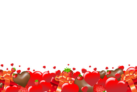 strawberry chocolate: Happy Valentines Border With Red Hearts With Gradient Mesh, Vector Illustration