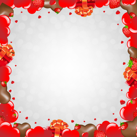 chocolate box: Happy Valentines Day Border With Gradient Mesh, Vector Illustration