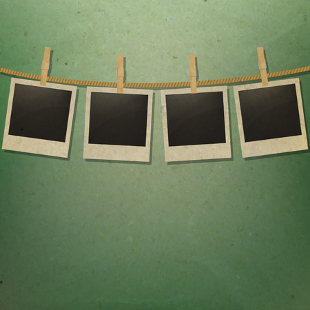 clothespin and rope: Photo Frame With Gradient Mesh, Vector Illustration