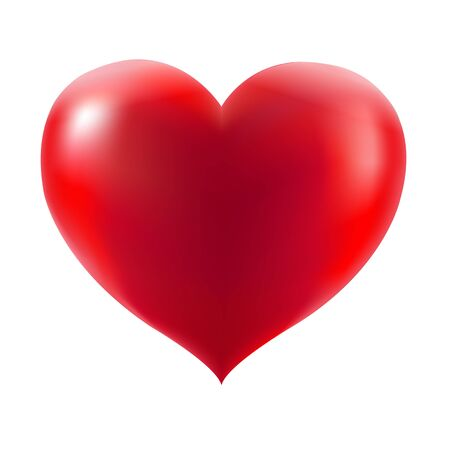 Red Heart With Gradient Mesh, Vector Illustration