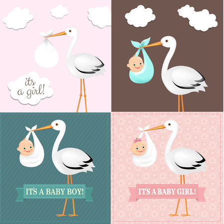 Stork With Baby Set With Gradient Mesh, Vector Illustration Vettoriali