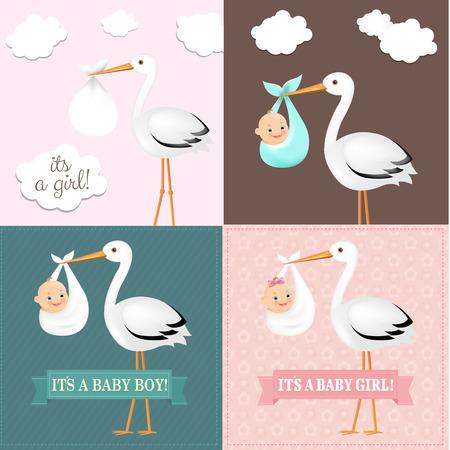 Stork Avec Baby Set Avec un filet de dégradé, illustration vectorielle
