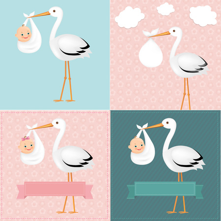 Stork With Baby Set With Gradient Mesh, Vector Illustration 向量圖像