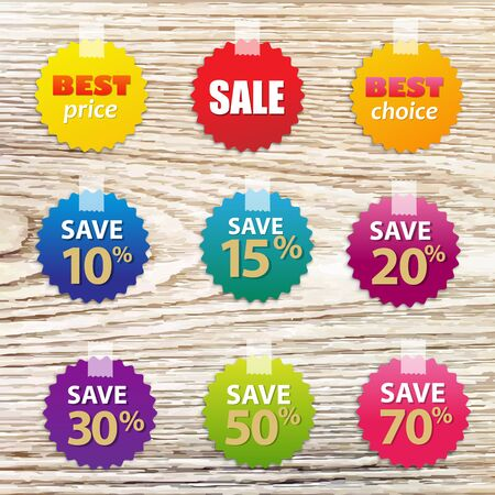 bleached: Big Colorful Sale Tags With Wood Background With Gradient Mesh, Vector Illustration Illustration