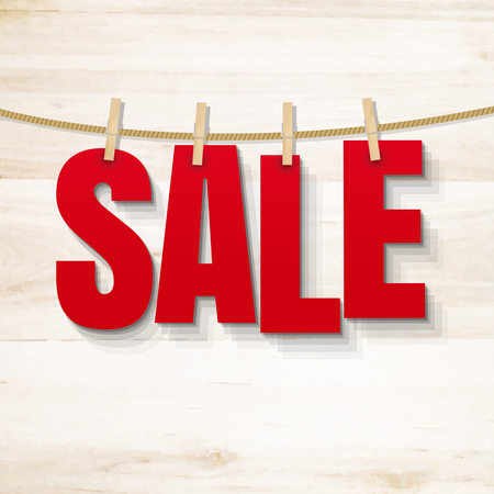 Sale Poster And Wooden Texture, Vector Illustration Vector