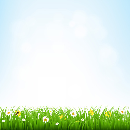 Nature Background With Grass Border With Gradient Mesh, Vector Illustration