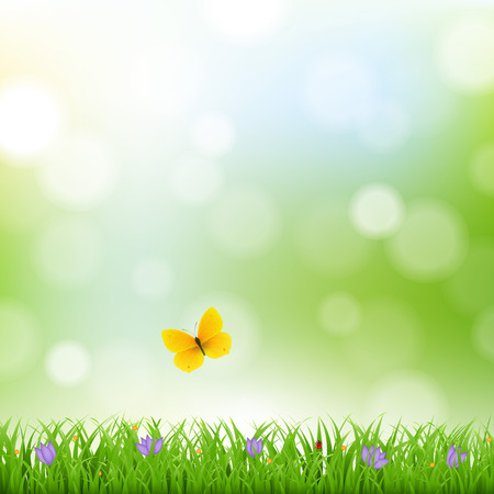 Nature Background With Grass Border And Flowers With Gradient Mesh, Vector Illustration Vector