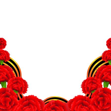 carnations: Victory Border With Red Carnations Border With Gradient Mesh, Vector Illustration