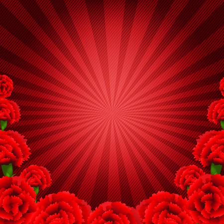 may 9: Red Carnations Border With Gradient Mesh, Vector Illustration