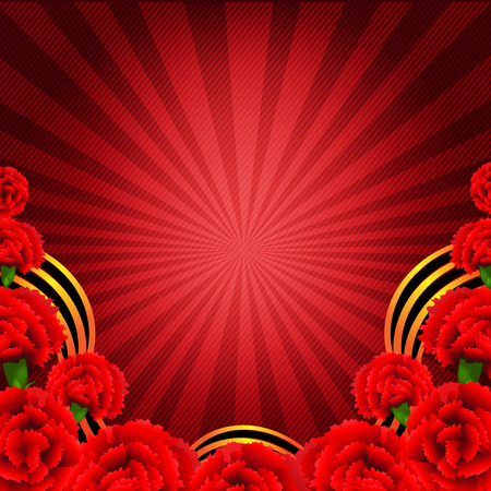 carnations: Victory Red Poster With Red Carnations Border With Gradient Mesh, Vector Illustration