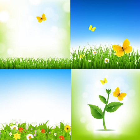 grass border: Spring Nature Backgrounds With Grass Border And Flowers With Gradient Mesh, Vector Illustration Illustration