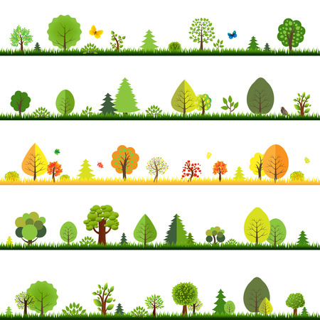 Trees Borders With Gradient Mesh, Vector Illustration