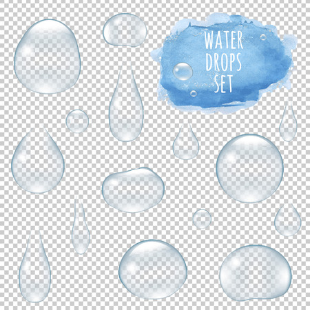 surface: Water Drops Set With Gradient Mesh, Vector Illustration Illustration