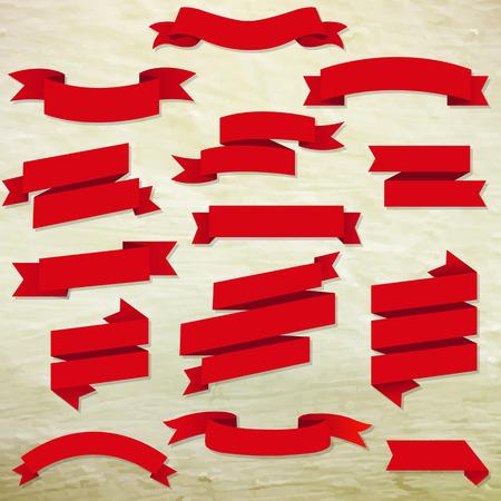 Red Web Ribbons set avec un filet de dégradé, illustration vectorielle Banque d'images - 39321985