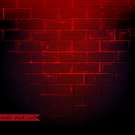 red brick: Dark Red Brick Wall, Vector Illustration Illustration