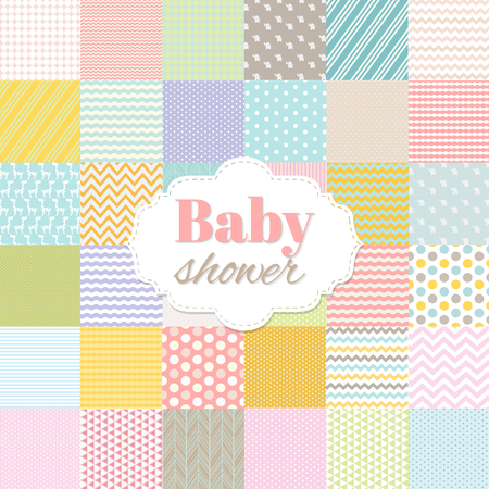 Baby Shower Poster With Gradient Mesh, Vector Illustration