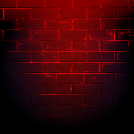 red brick: Dark Red Brick Wall With Gradient Mesh, Vector Illustration Illustration