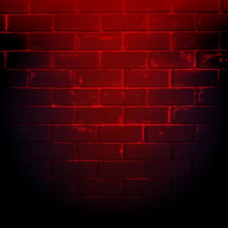 Dark Red Brick Wall With Gradient Mesh, Vector Illustration Vettoriali