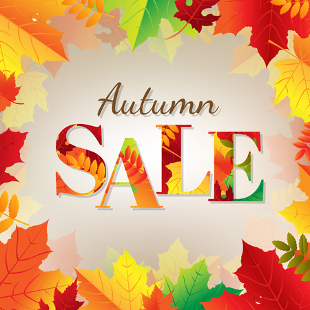 wind down: Autumn Sale Banner With Color Leaves With Gradient Mesh, Vector Illustration Illustration