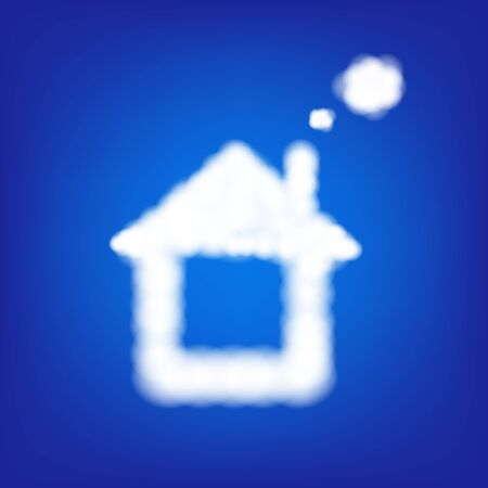 blue sky with clouds: House From Clouds In Blue Sky With Gradient Mesh, Vector Illustration