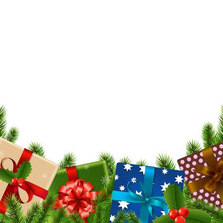 furtree: Christmas Border With Gradient Mesh, Vector Illustration Illustration
