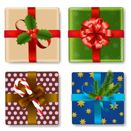 christmas gift box: Christmas Gift Box Set With Gradient Mesh, Vector Illustration Illustration