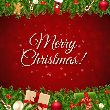 furtree: Xmas Christmas Retro Card With Gradient Mesh, Vector Illustration