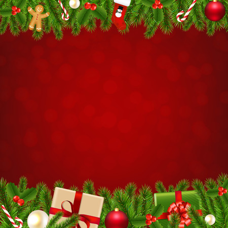 decorated christmas tree: Xmas Christmas Borders With Gradient Mesh, Vector Illustration Illustration