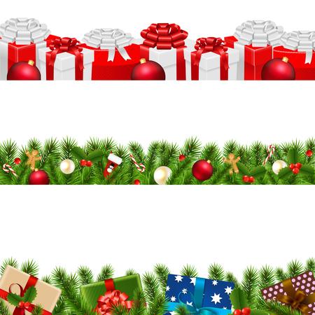Conjunto grande de fronteras de Navidad con malla de degradado, ilustración vectorial Vectores
